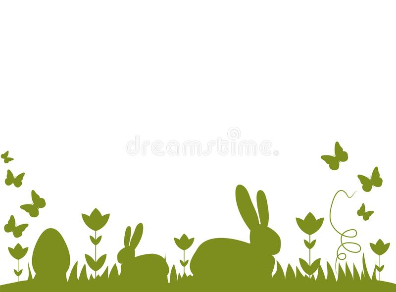 Easter bunnies and eggs on a meadow. Easter bunnies and eggs and butterflies on a meadow. Clean design with different silhouettes. Happy Easter royalty free illustration