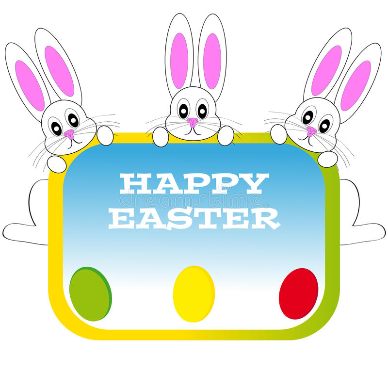 Download Easter Bunnies With Eggs On White Background Stock Vector - Image: 83720441