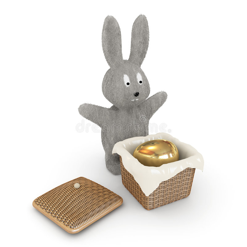 Easter bunnies is hiding the egg in the caskit vector illustration