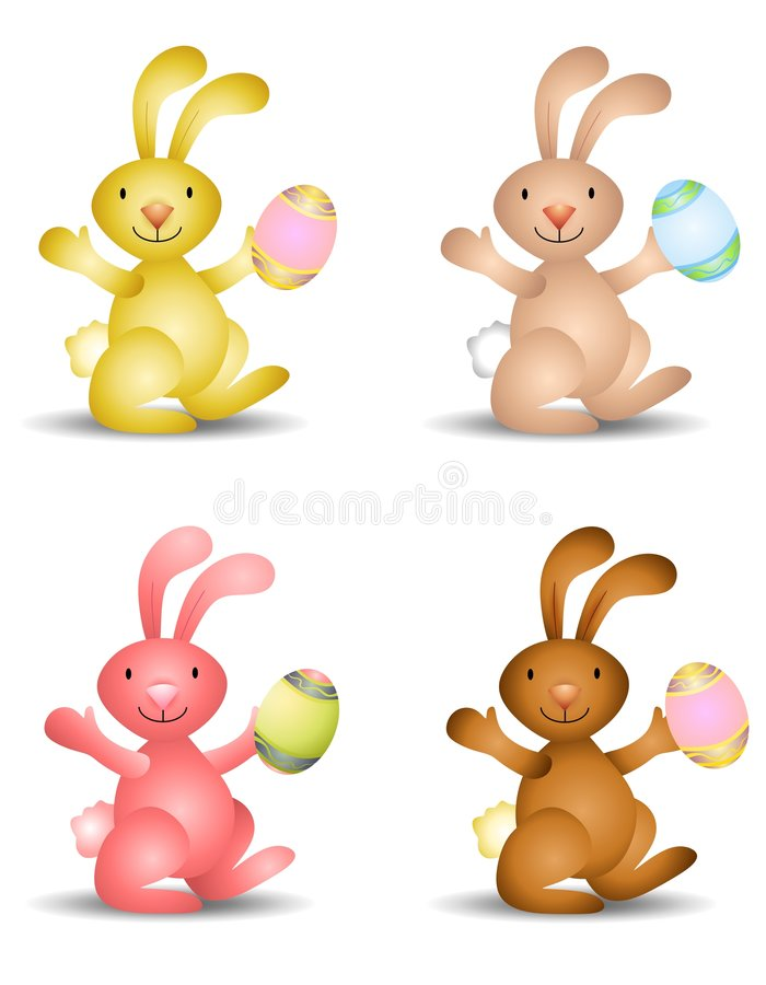 Easter Bunnies Holding Easter Eggs. An illustration featuring an assortment of Easter Bunnies holding Easter eggs royalty free illustration