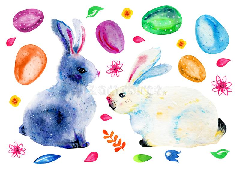 Easter bunnies, painted easter eggs and flowers. Hand drawn watercolor illustration set stock illustration