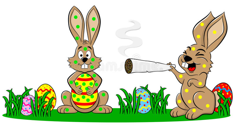 Easter bunnies who smoke too much royalty free illustration