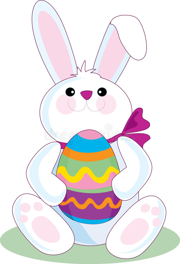 Easter Bunny. The Easter Bunny holding a big Easter Egg vector illustration