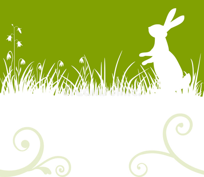 Easter bunny. Easter green background, bunny or rabbit sitting in the meadow, vector illustration