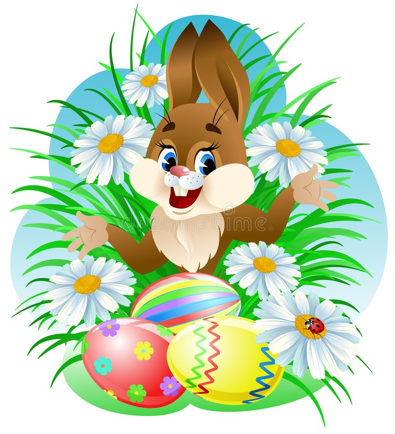 Easter bunny. With colorful eggs in grass stock illustration