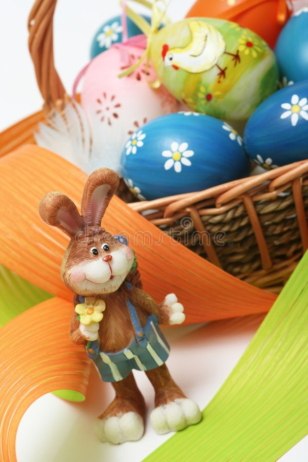 Easter Bunny. On easter background stock photography