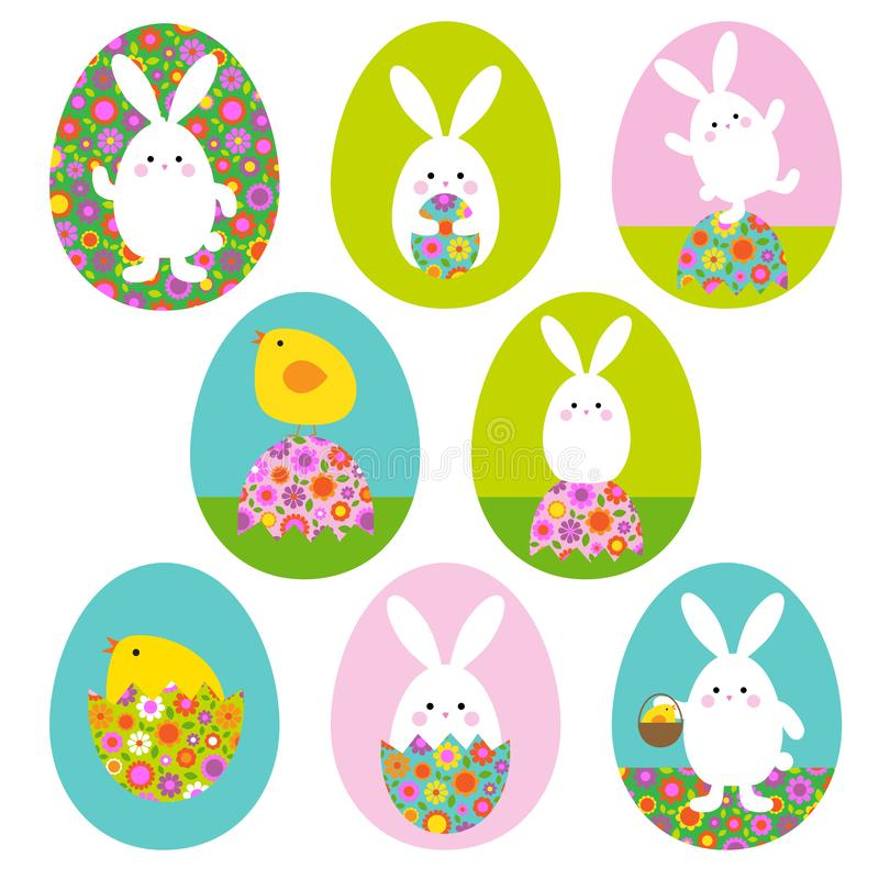 Easter bunny and baby chick graphics on Easter egg shapes stock photos