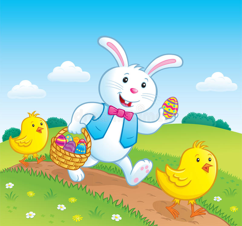 Easter Bunny and Baby Chicks On Trail vector illustration