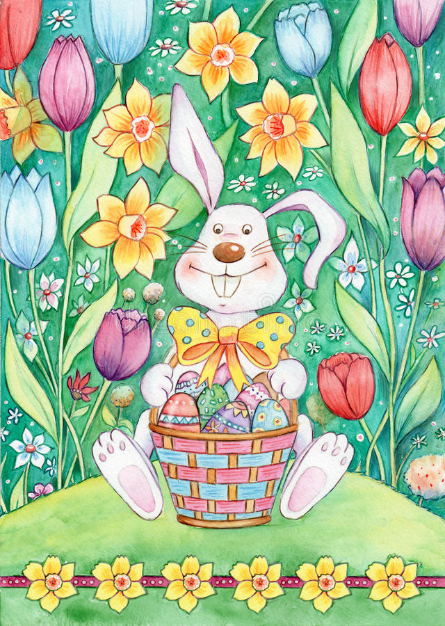 Download Easter Bunny With Basket stock illustration. Illustration of field - 27751452