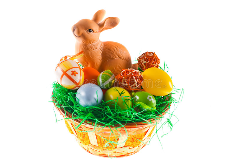 Easter Bunny And Basket Royalty Free Stock Photography