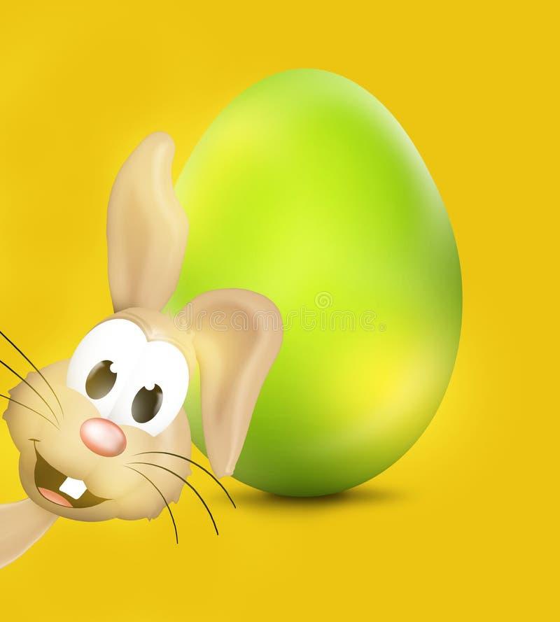 Easter Bunny Big Easter Egg Green Glossy stock illustration
