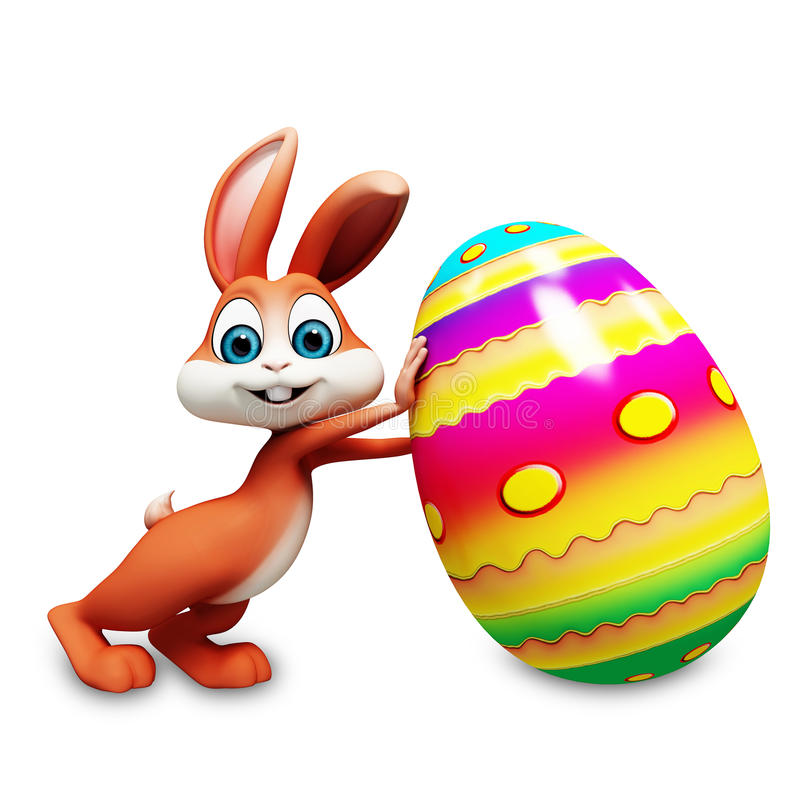 Easter bunny with big eggs. Easter brown bunny with big eggs stock illustration