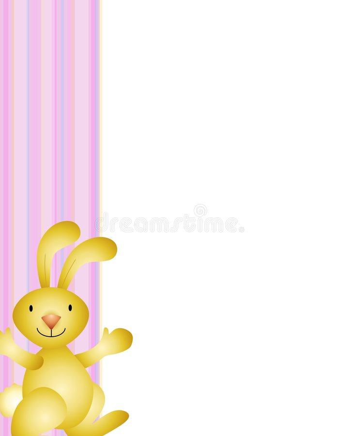 Easter Bunny Border Background. A background border featuring a golden Easter bunny standing in front of a pink striped border stock illustration