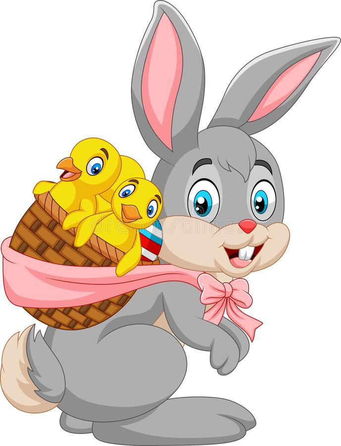 Free Easter Bunny Carrying Basket Of Baby Chicks Stock Photo - 142663270