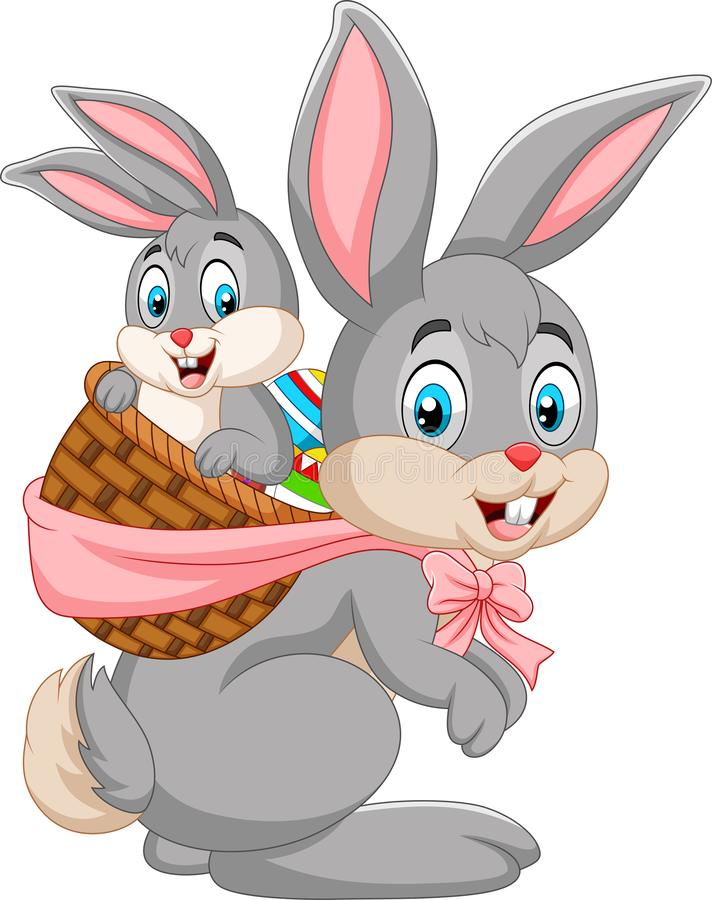 Free Easter Bunny Carrying Basket Of Baby Rabbit Stock Images - 142663254
