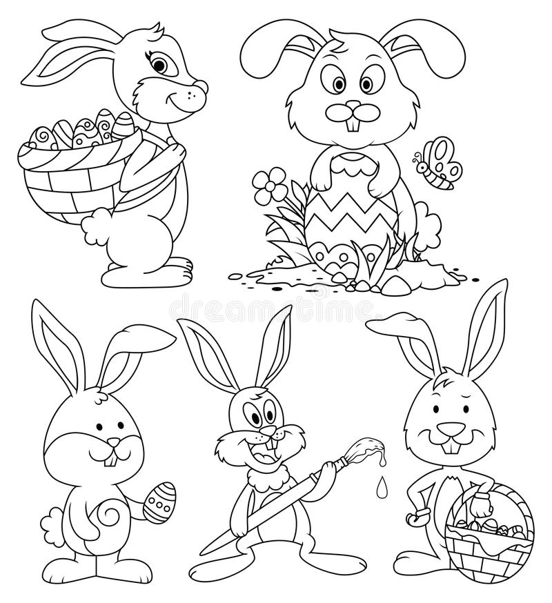 Line Art Easter Bunny : Easter bunny cartoon characters line art set stock vector