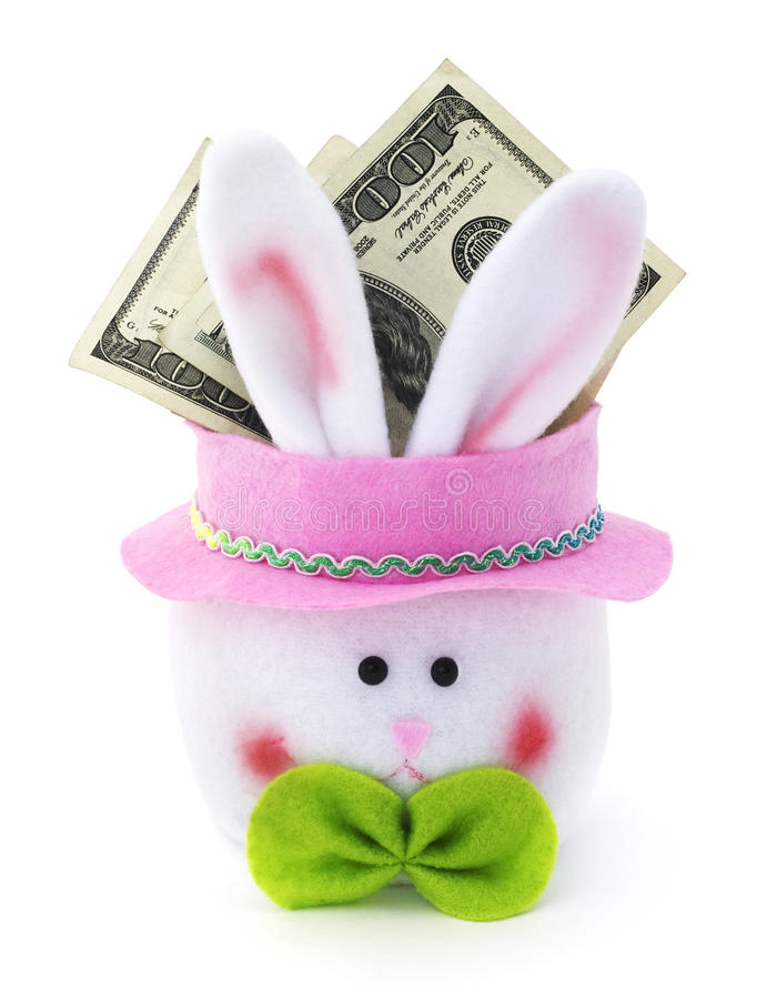 Easter bunny cash. Easter bunny with cash on a white background stock photography