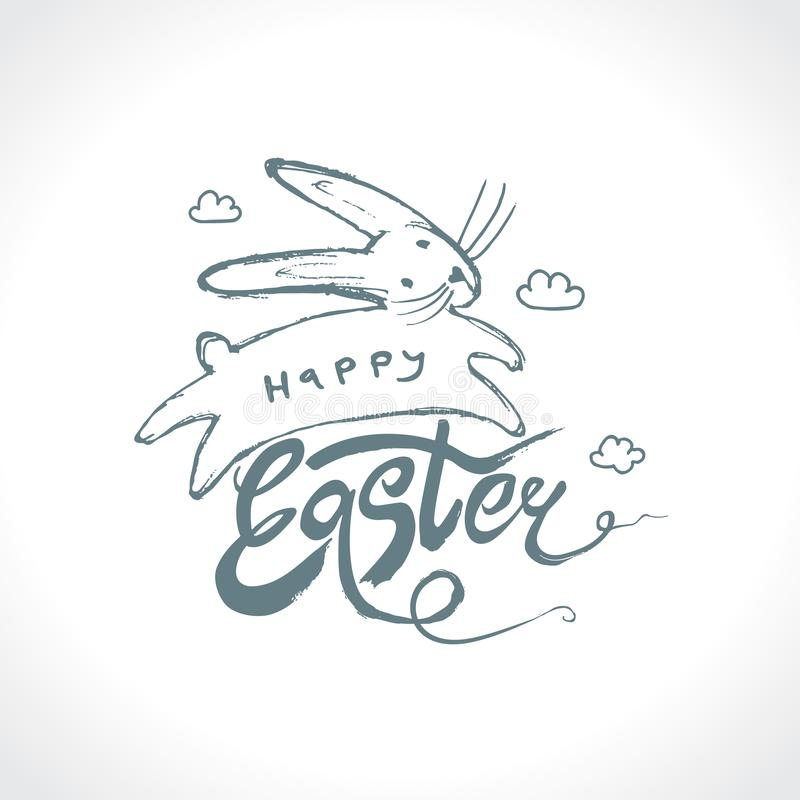 Easter bunny in clouds. Happy Easter vector illustration imitating pencil drawing. stock illustration