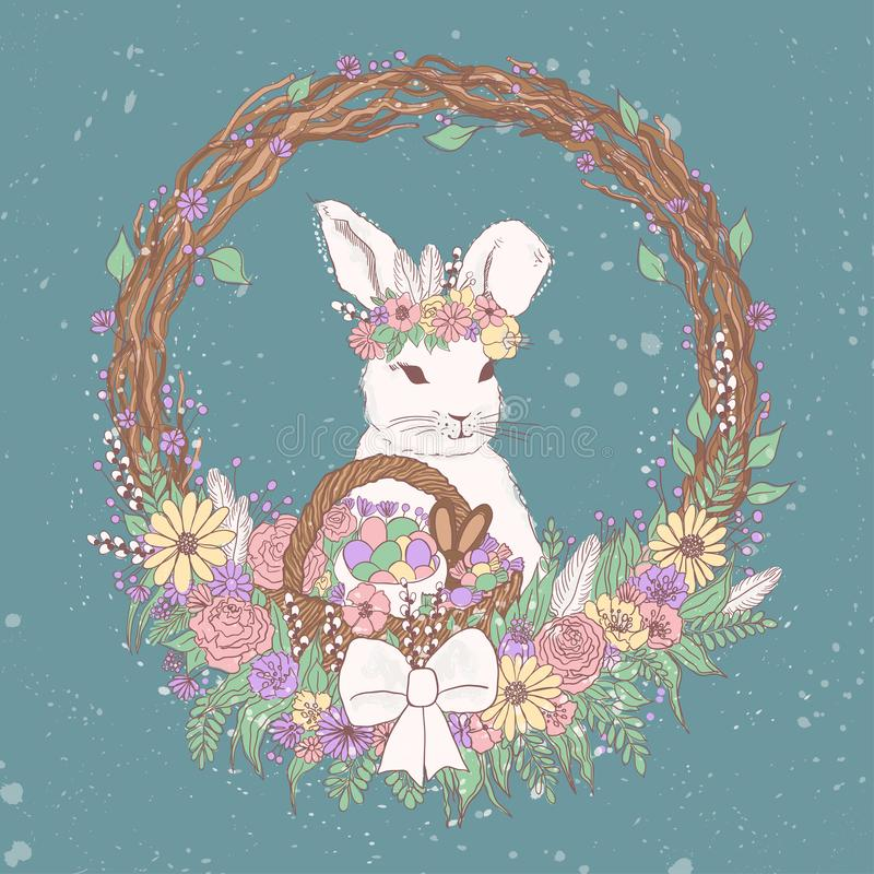 Vector pastel floral easter bunny illustration with flowers, easter eggs, basket, wreath, chocolate candies. sweet colorful easter. Watercolor vector pastel stock illustration