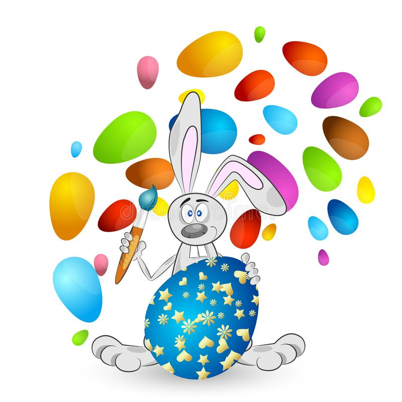 Easter bunny with colored eggs royalty free illustration