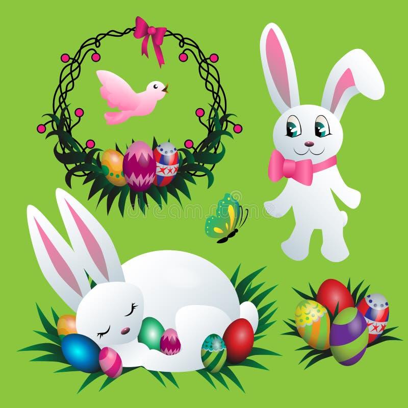Easter bunny vector set royalty free illustration