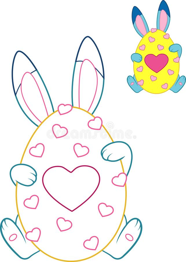 Easter Bunny Coloring Page stock illustration