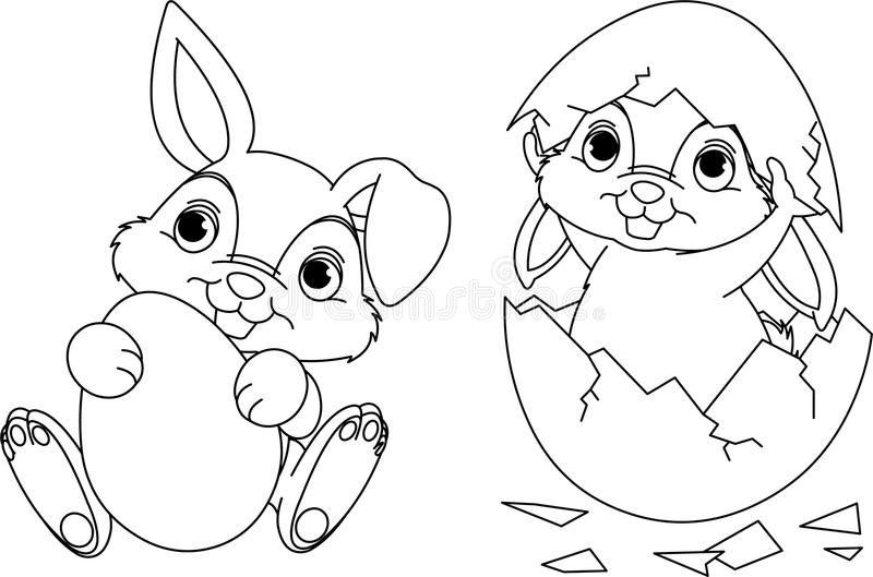 Easter Bunny Color Pages Easter Bunny Coloring Page Stock Vectorimage Of Funny  24082136