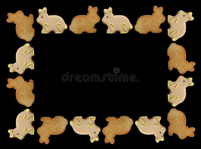 Easter Bunny Cookies Frame Royalty Free Stock Photography