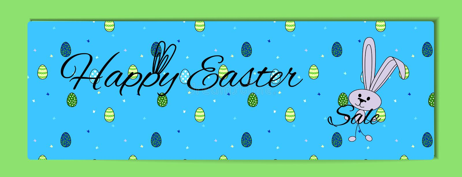 Easter bunny cover. Horizontal blue banner with green painted eggs, butterflys and a hare. Cartoon rabbit for hunt egg royalty free illustration