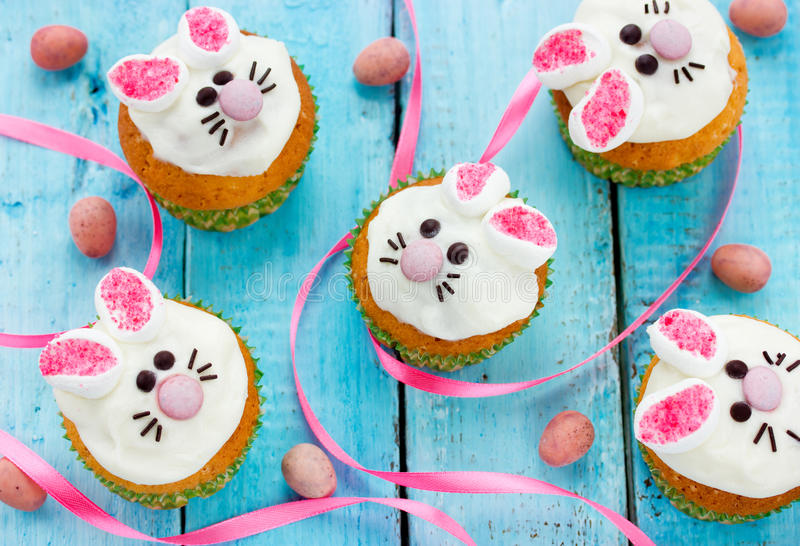 Easter bunny cupcakes stock photography