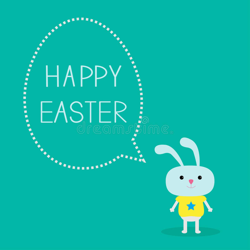 Easter bunny and dash line egg bubble. Card. Vector illustration stock illustration