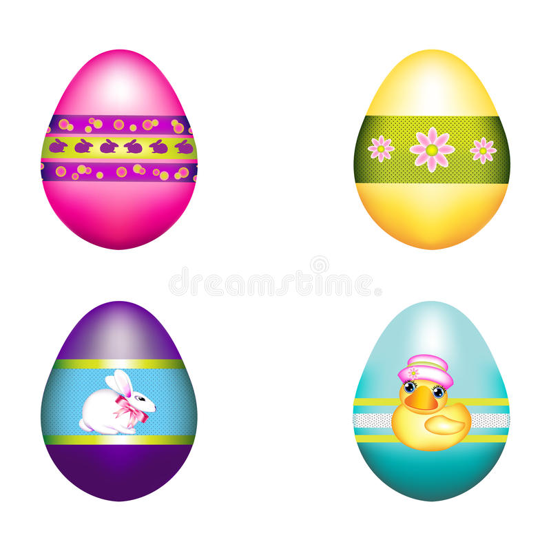 Easter Bunny Decorated with a Bouquet of Eggs. Four Easter eggs decorated for the holiday on a white background. They are adorned with rabbits, a chickadee, and vector illustration