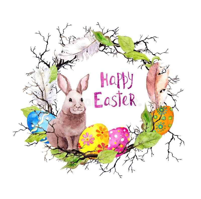 Easter bunny with decorating eggs, branches, spring leaves, feathers. Vintage wreath. Watercolor with text Happy Easter vector illustration
