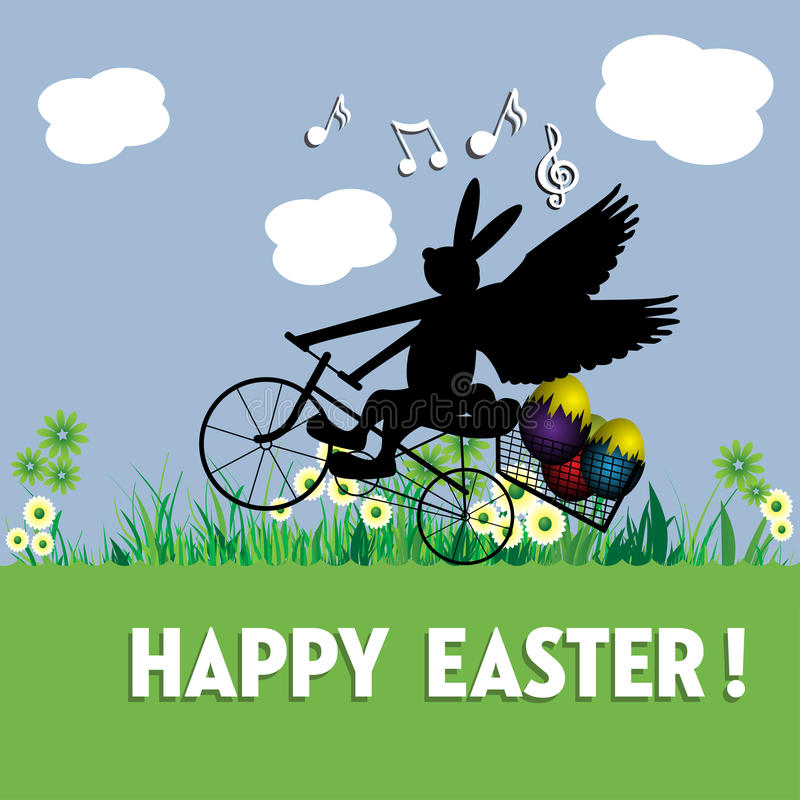 Abstract Colorful Background With An Easter Bunny Delivering Eggs A Bicycle Postcard Concept