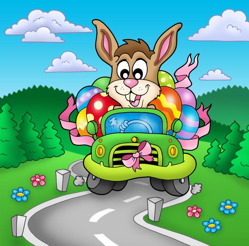Easter bunny driving car on road vector illustration