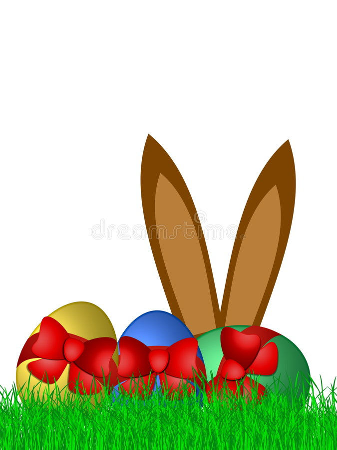 Easter Bunny Ears And Eggs Stock Image
