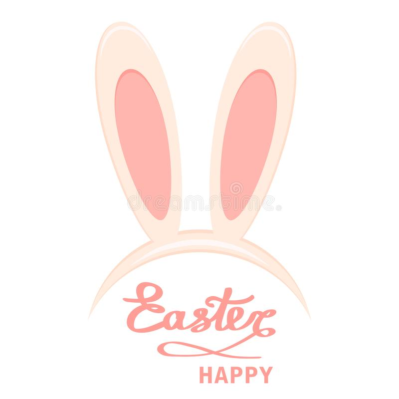 Easter. Bunny ears head mask and Happy Easter script lettering. stock illustration