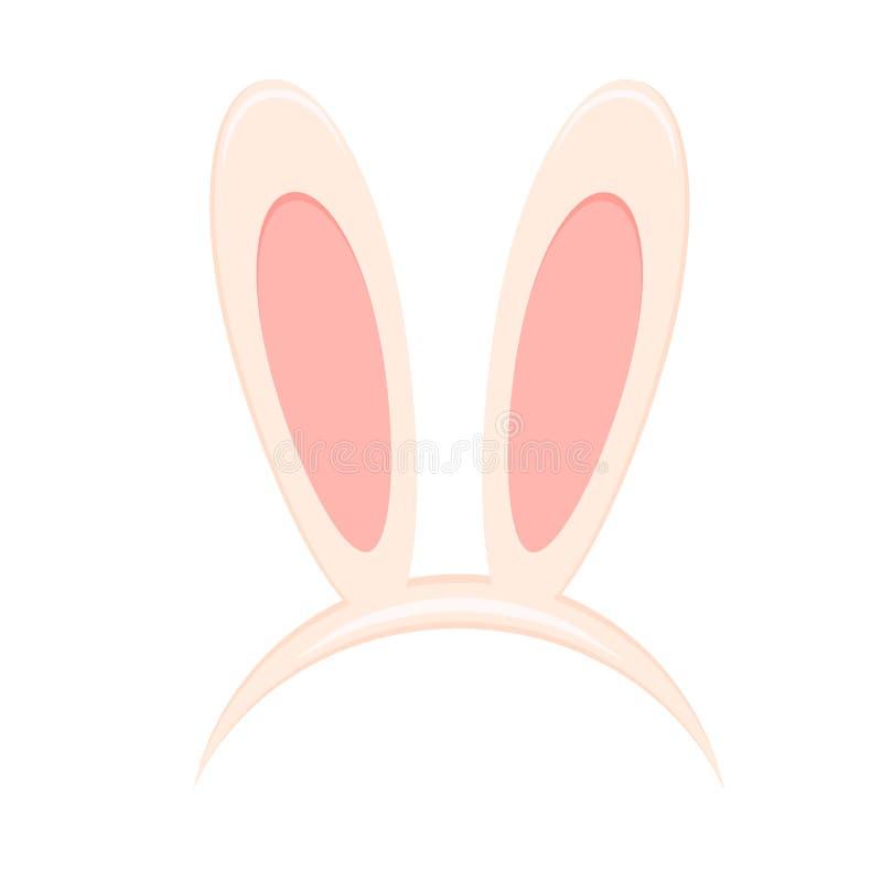 Easter bunny ears mask isolated on white background. Rabbit ear stock illustration