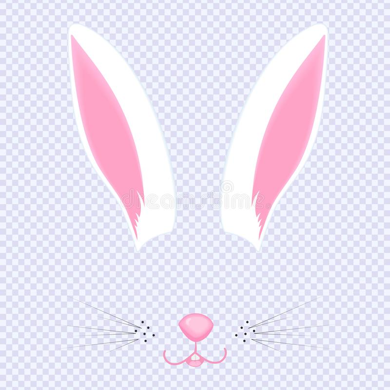 Easter Bunny ears and nose. Mask for carnival, selfie, photo, chat. The face of the animal. Rabbit filter vector illustration