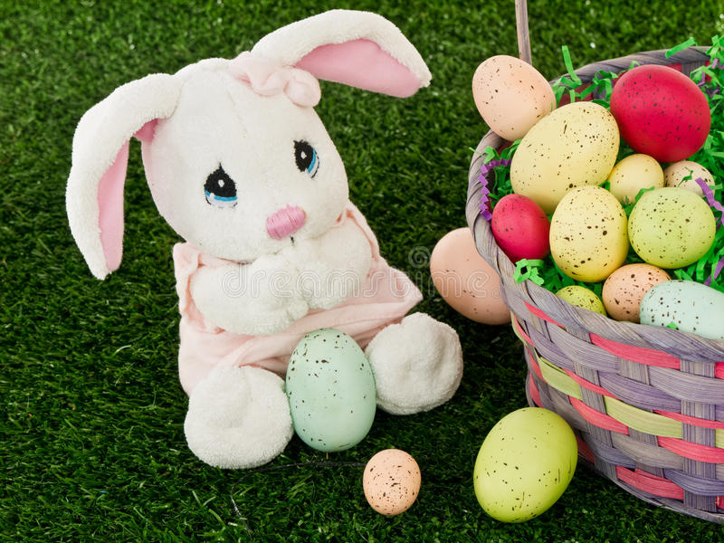 Easter Bunny and Easter Basket stock photos
