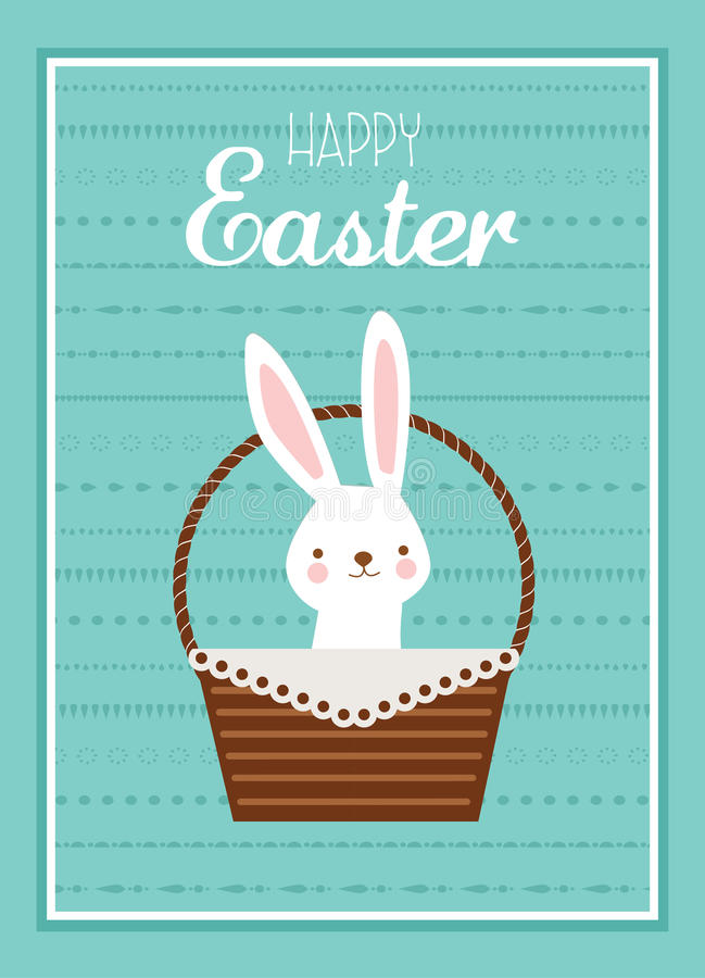 Easter bunny with Easter basket full of Easter eggs vector illustration