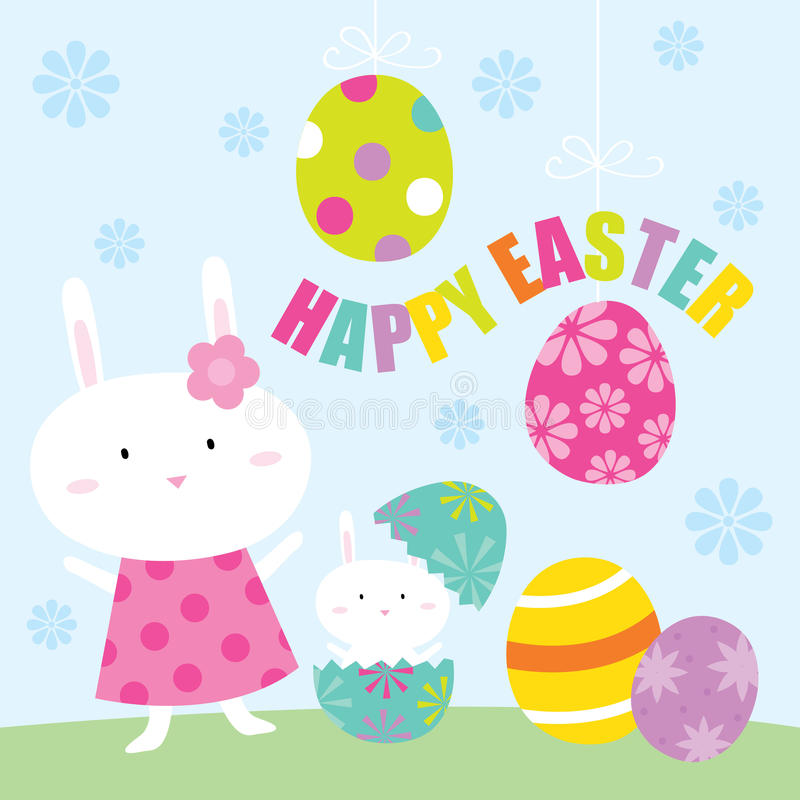 Easter bunny and easter egg royalty free stock photo