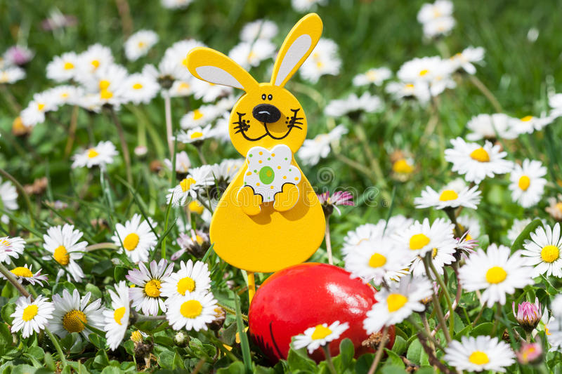 Easter Bunny with Easter Egg on the Flowers Field stock photo