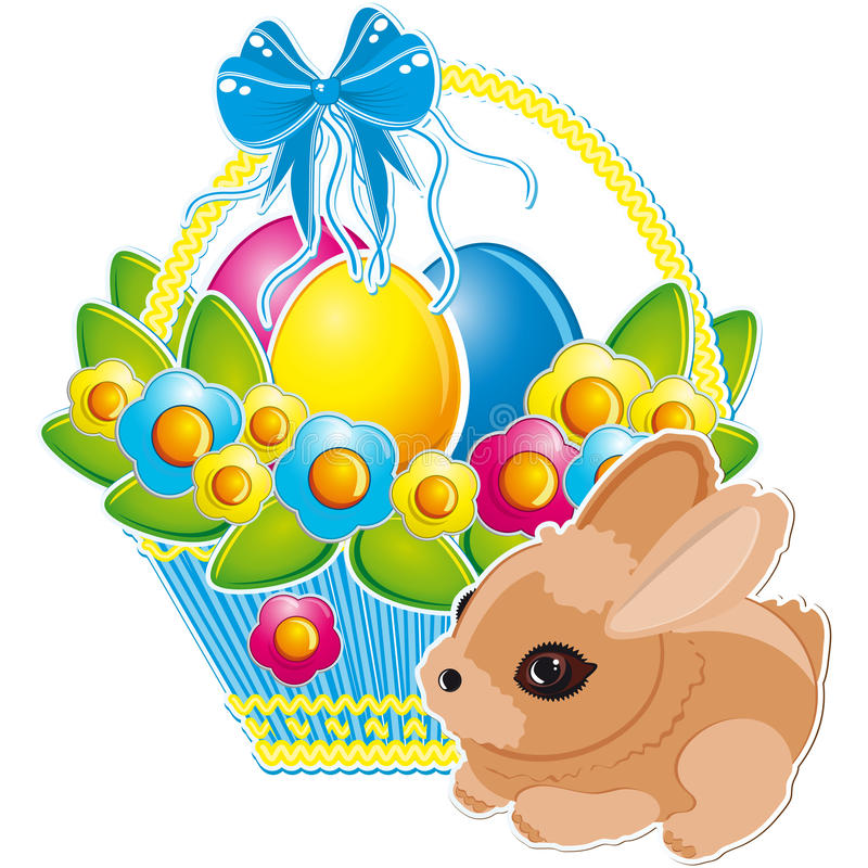 Easter bunny and Easter eggs stock photos