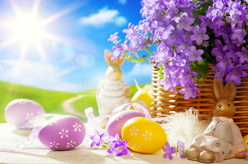 Art Easter bunny and Easter eggs stock images