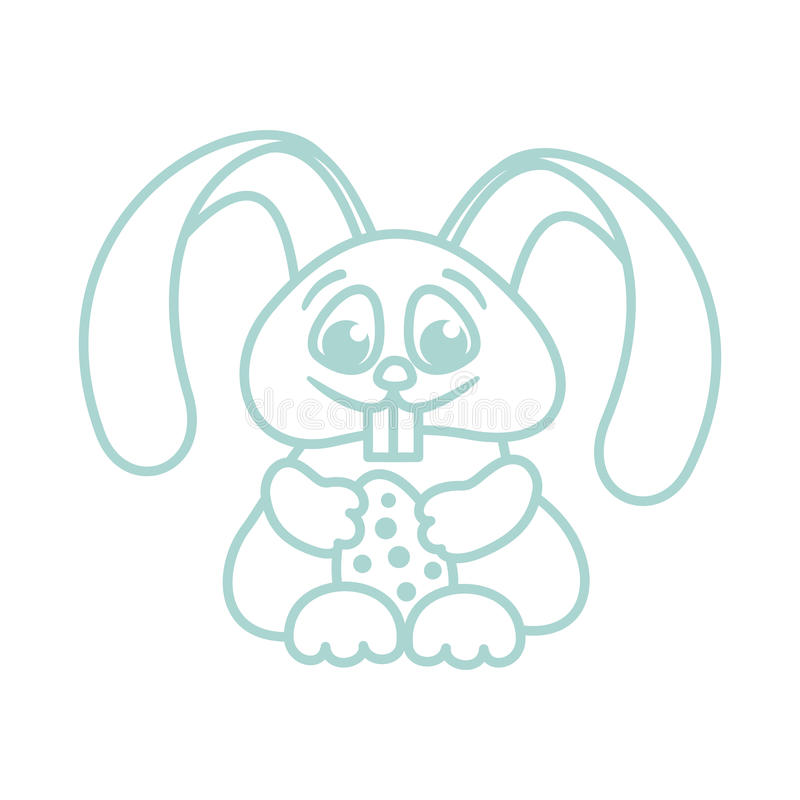 Easter bunny with easter eggs for kids coloring outline stock illustration