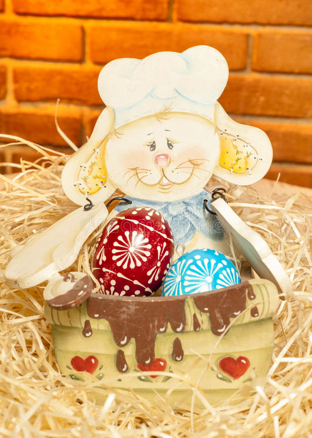 Easter Bunny with easter eggs stock photo