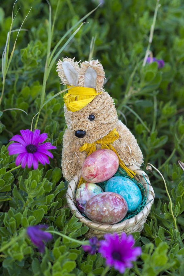 Easter bunny with Easter eggs royalty free stock photo