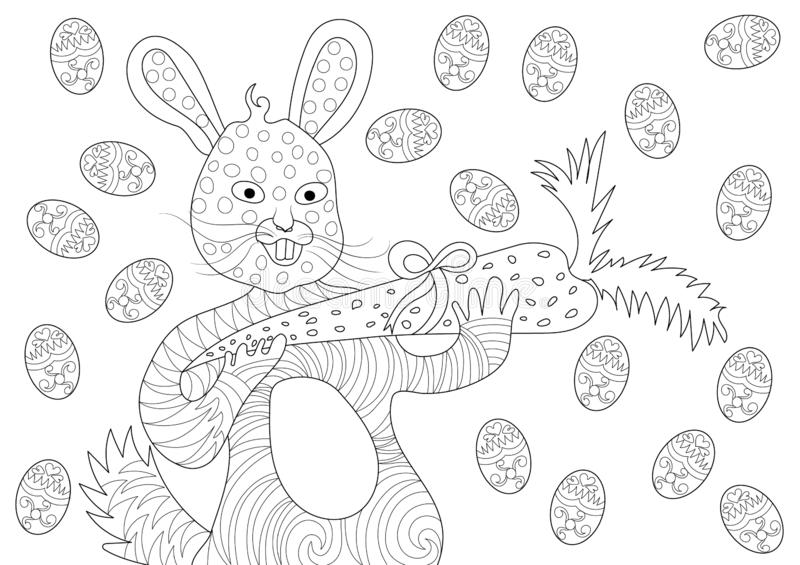 Easter Bunny Eating Carrot and Happy with Eggs in Coloring Book Pattern royalty free illustration