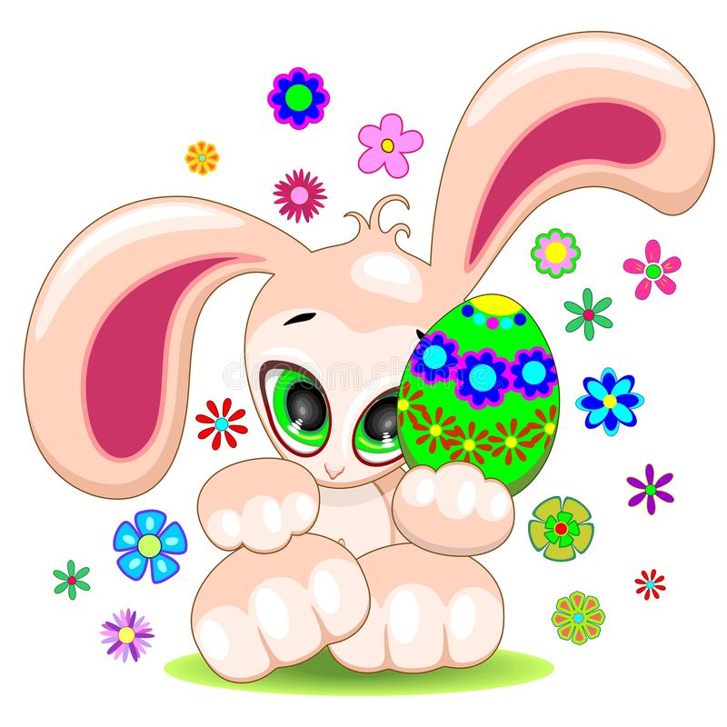 Download Easter Bunny With Egg Cute Cartoon Character Stock Vector - Image: 89020944